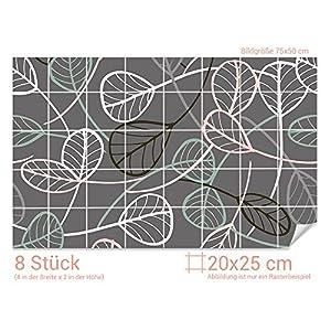 GRAZDesign Fliesenfolie farbig - Fliesen überkleben Blätter Muster - Wandfliesen selbstklebend glänzende Folie - Fliesenaufkleber Küche grau / 20x25cm (BxH) / 766014_20x25_50