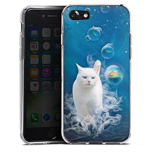 Apple iPhone X Silikon Hülle Case Schutzhülle Katze Fisch Blasen Silikon Case transparent