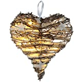 WeRChristmas Herz mit Schnee und Sternen, Weihnachtsdekoration, Rattan, LED-Beleuchtung warmweiß, 20cm