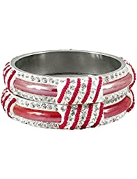 DollsofIndia Pair Of Light Red Metal Bangles With Stone And Beads - Size - 2-6 - Dia - 2.4 Inches (RE96) - Red