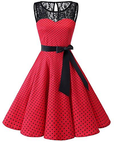 bbonlinedress 1950er Ärmellos Vintage Retro Spitzenkleid Rundhals Abendkleid Red Small Black Dot S
