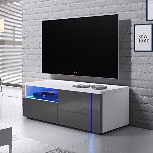 Selsey Oxy Single – TV-Lowboard/Fernsehschrank/Fernsehtisch mit Schrankfächern und Offenem Fach auf der Linken Seite (100 cm, in Grau/Weiß mit LED-Beleuchtung)