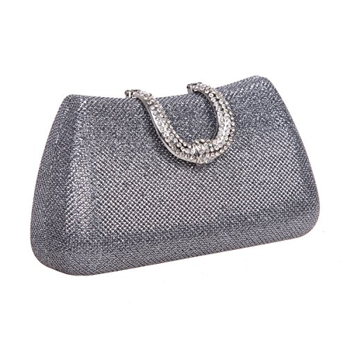 Bonjanvye Glitter Initials Hand Purses for Women Evening Clutch Bag Black Gray