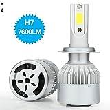 COPPIA LAMPADE LED DA AUTO FARI H7 MOTO KIT LAMPADINE 36W LUCE BIANCA 6000K FARO 7600LM- 3800LM A LAMPADINA