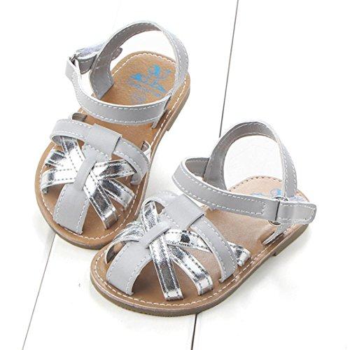 Igemy 1Paar Baby Jungen Sandalen Kleinkind erste Wanderer Mädchen Kinder Schuhe Silber