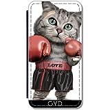 Etui à Rabat pour Samsung Galaxy S7 Edge (SM-G935) - Boxe Chat by Adam Lawless