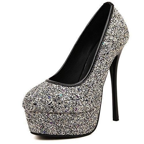 AgooLar Femme Tire à Talon Haut Tissu à Paillette Couleur Unie Rond Chaussures Légeres Noir