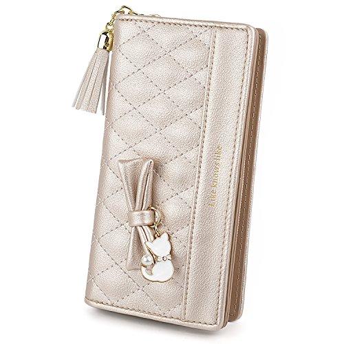 UTO Damen PU Leder Lange Brieftasche Große Kapazität mit Cute Cat Anhänger Kartenhalter Handytasche Mädchen Reißverschluss Geldbörse Gold