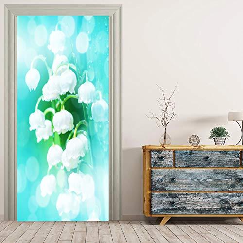 DOORWP @ 3D Türaufkleber, Glocke Orchideen Wandbilder Wandaufkleber Türaufkleber Tapete Aufkleber Home Decoration (Orchidee-statue)