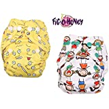 Fig-O-Honey Reusable New Born Baby Cloth Diapers   Multi-Color Baby Fabric Nappy With Free Absorbent Inserts   Washable And Elastic Printed Modern Cloth Nappies With Insert Liners   ( All Smiles & Emoji Print Combo )