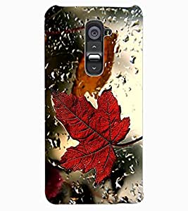 ColourCraft Lovely Leaf in Rain Design Back Case Cover for LG G2