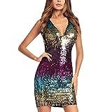 LAEMILIA Damen Paillettenkleid V-Ausschnitt Kleid Ärmellos Partykleid Irregular Abendkleid Fingurbetont Bodycon Cocktailkleid Clubwear