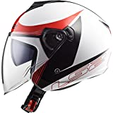 LS2 of573 pivotant plat casque moto jet ouvert - BLANC NOIR ROUGE, Medium