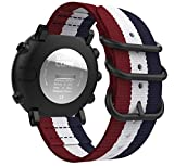 MoKo für Suunto Core Smart Watch Armband, NATO Nylon Uhrenarmband Ersatzarmband Handgelenk Band Strap für Suunto Core Smart Watch, Armbandlänge - Blau & Weiß & Rot