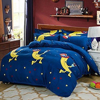 4Muster, Bettwäsche Sets Made mit hautfreundlichen Material (kein Tröster involviert), baumwolle, Banana, Blue, Twin(58