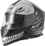 VCAN V127HOLLOW SKULL Moto ACU approvato casco integrale nero opaco + Visiera scuro, Black, L