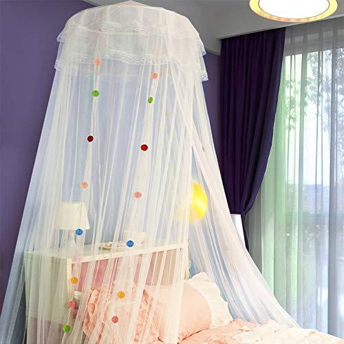 GL-home DIYPrincess Moskitonetz Spitze Haube Bett Kinder Baldachin Schädlingsbekämpfung Indoor/Outdoor Dekoration Höhe 240cm / 10m Rosa