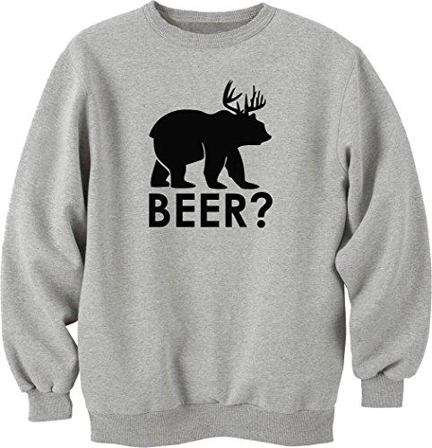 Nothingtowear Beer Bear Deer Mashup Funny Sweatshirt Pullover Grau (XL) - Japan Anime-kunst-plakat