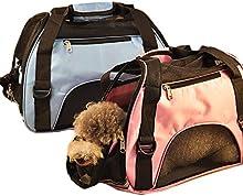 GenialES Transportín Plegable Bolsa de Transporte Ligera Cajón Portador para Mascota Perros Gatos Peso 4-8KG, 47*30*24cm