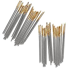 100 Pcs Cross Stitch Needles, Gosear Steel Embroidery Cross Stitch Hand Needles Tool Smooth Sturdy Embroidery Accessories Size 24 for 11CT 3 Strand Gold Eye