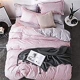 HNHDDZ Bettwäsche Set 4 teilig (1 Bettlaken + 1 Bettbezug + 2 Kopfkissenbezüge) Einfaches, geometrisches Streifengitter-Superfeinfaser-Bettwäsche Set für Teen Jungs Mädchen (Pink,150x200 cm)