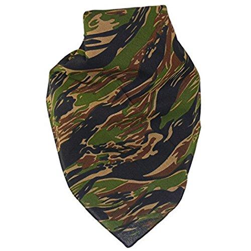 ODN Bandana Tuch Biker Kopftuch Halstuch Paisley Muster /Camouflage (Grüne Tarnung)