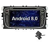 Ohok 7 Zoll Bildschirm 2 Din Autoradio Android 8.0.0 Oreo Octa Core 4G+32G Radio mit Navi Moniceiver DVD GPS Navigation Unterstützt Bluetooth WLAN DAB+ OBD2 für Ford Mondeo/Ford S-Max/Ford C-Max/Ford Focus/Ford Galaxy Schwarz mit Klein-Rückfahrkamera