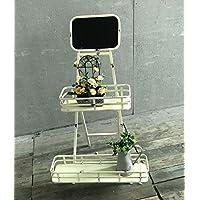 CAIJUN Racks de flores de hierro Estante de exhibición de decoración de patio Estante de dos niveles de estantes Estantes de pizarra Plato de estante de ...