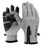 Epinki Outdoor Wasserdicht Handschuhe Zipper Touchscreen Funktion Warm Reithandschuhe Grau Größe XX-Groß Handschuhe Grau