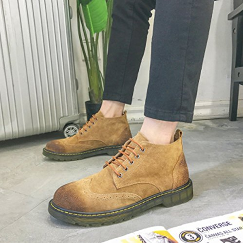 LINYIMen Martin Strumenti Stivali Retrò Moda Casual Sport Arrampicata Walking Office Carriera YELLOW
