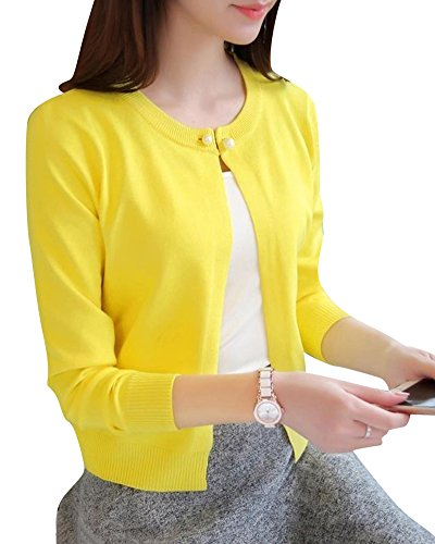 Damen Sonnenschutz kleiner Schal Strickjacke Langarm Klimaanlage hemd Gelb S