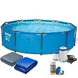 Bestway 7in1 Set Steel Pro Frame Pool 305 x 76 cm 56406 mit Filterpumpe 1249 Liter/Stunde und Zubehör