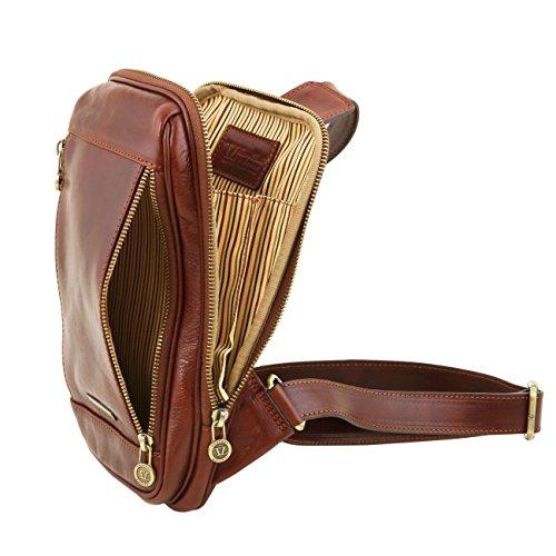 Tuscany Leather Martin - Monospalla in pelle Miele Borse uomo in pelle Nero