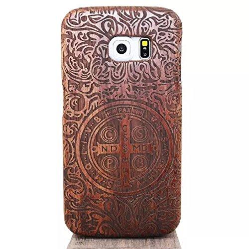 Galaxy S6 Edge Caso Custodia di legno, Vandot Reali Genuini Handmade di Bastone Naturale di Bambu Intagliato Dura Della Copertura della Cassa Antiurto - Croce