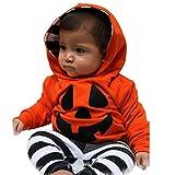 Fami- Dei neonati e ragazze hoodies + pantaloni a strisce zucca vestito del costume di Halloween (80, arancia)