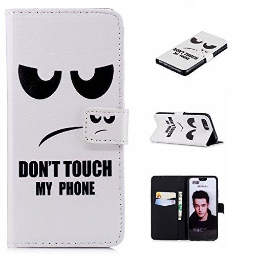 für Smartphone Huawei Honor 10 Hülle, Leder Tasche für Huawei Honor 10 (5.84 Zoll) Flip Cover Handyhülle Bookstyle mit Magnet Kartenfächer Standfunktion #1 (6)