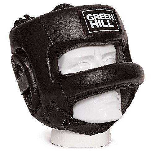 GREEN HILL CASCO DE BOXEO CASTLE PROTECCIÓN BARRA FRONTAL BOXING NEGRO (M)