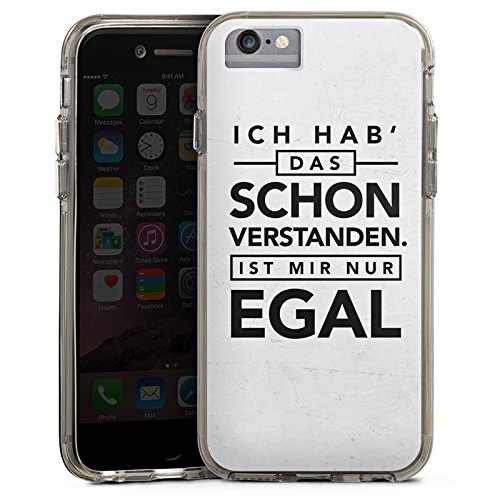 Apple iPhone 6s Bumper Hülle Bumper Case Glitzer Hülle Sprüche Sayings Phrases Bumper Case transparent grau