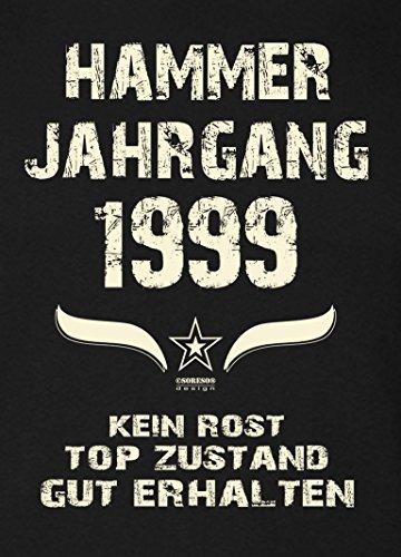 Damen-Kurzarm-T-Shirt Girlieshirt Geschenk-Idee zum 18. Hammer Jahrgang 1999 Geburtstag Geburtstagsgeschenk :-: Farbe: schwarz Schwarz