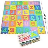 Kids Zone 86 tlg. Puzzlematte für Kinder aus rutschfestem EVA - 3,3m² große Spielmatte, individuell zusammensteckbar - Jedes Teil 30 x 30 x 1 cm - Kinderteppich mit Puzzle mit Zahlen und Buchstaben