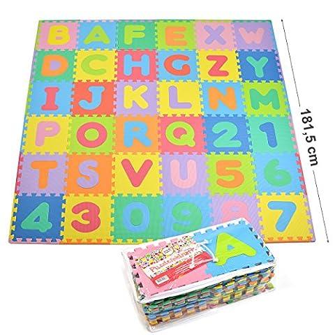 Puzzlematte, Spielmatte, Kinderteppich, Lernteppich für Kinder 36 einzelne Matten 30 x30 x1 cm geprüfte Qualität ohne Schadstoffe - 86 Teile insgesamt mit herausnehmbaren Zahlen