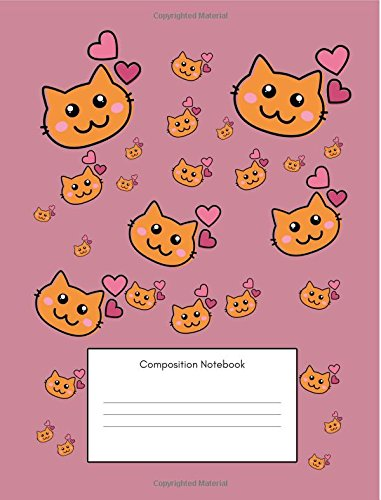 Composition Notebook: Maths Back to School Notebook For Elementary School Kids, (7.44x9.69 Inches, 100 Pages, 4x4 Graph Quad,Squared Grid Paper), 2nd, 3rd, 4th, 5th, 6th, Grade, Girls Pink Cats Design