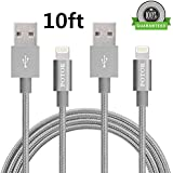 Potok 2Pack Nylon Braided Lightning Cable USB Cord Charging Cable for iPhone 6/6 Plus/6s/6s Plus, iPhone 5 5c 5s (2Pack 10Ft)