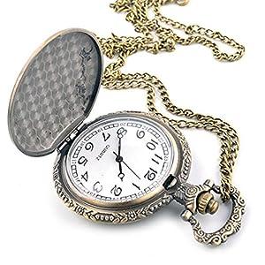 Reloj creativo Carving Flip reloj de bolsillo Vintage relojes moda relojes marca wexe.com