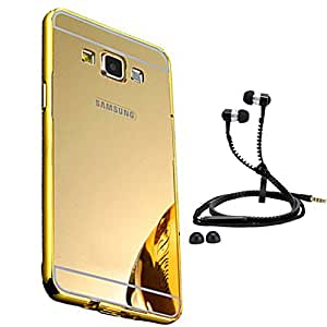 Droit Luxury Metal Bumper + Acrylic Mirror Back Cover Case For + Samsung A5 Stylish Zipper Handfree and Good QualitySound by Droit Store.