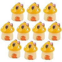10pcs Casa de Setas Miniatura Casa de Muñecas Decoración de Bonsai Paisaje Jardín (amarillo)