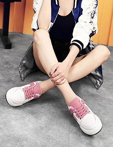 HWF Scarpe donna Scarpe sportive da donna casual piatto piatto primavera scarpe da corsa fondo singolo studente scarpe da donna ( Colore : Grigio scuro , dimensioni : 40 ) Rosa