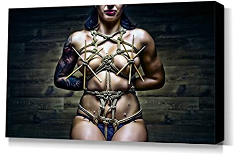 Bamboo Stick Portrait - stretched canvas print - Fine Art of Bondage, sexy erotic fetish BDSM wall art, 40x60 cm, 16