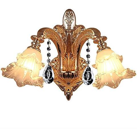 Europeo cristallo parete lampada camera da letto soggiorno sala da pranzo Villa sala corridoio luci singola e doppia parete di testa lampada lampada da comodino,Doppia testa