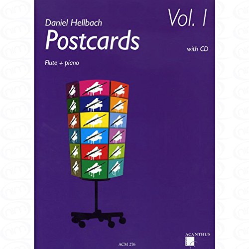 Postcards 1 - arrangiert für Querflöte - Klavier - mit CD [Noten/Sheetmusic] Komponist : HELLBACH DANIEL